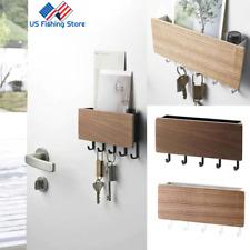 Wooden Key Holder Mail Rack Shelf Wall Mount Hooks Letter Key Hanger Organizer