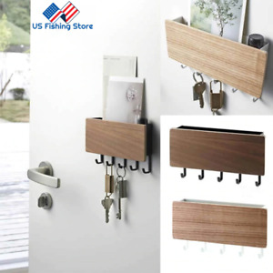 Wooden Key Holder Mail Rack Shelf Wall Mount Hooks Letter Key Hanger Organizer