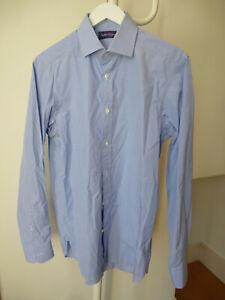 Ralph Lauren Purple Label blue check 100% cotton shirt WORNONCE RRP£380