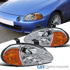 For 93-97 Honda Civic del Sol Clear Lens Headlights Driving Head Lamps Pair