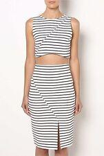 Regular Size Striped Sleeveless Crop Tops for Women
