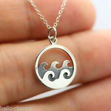 OCEAN WAVES NECKLACE - 925 Sterling Silver - Beach Ocean Nautical Jewelry Sun