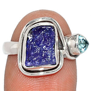 Tanzanite Crystal & Blue Topaz 925 Sterling Silver Ring Jewelry s.6 BR105615