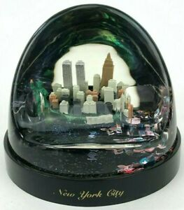 Vintage New York City 3D Snow Globe Souvenir Paper Weight Pen Holder Twin Towers
