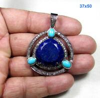 Lapis Lazuli Turquoise Pave Diamond 925 Sterling Silver Fine Jewelry Pendant
