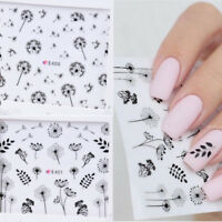 2 Pcs/Set 3D Nail Sticker Dandelion Flower Adhesive Nail Art Transfer Decals Tip