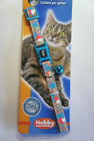 DESIGNER SAFETY CAT COLLAR TEAL WITH HEARTS DESIGN COLOURED BELL & ID TAG
