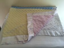 Just Born Velour Minky Dot Baby Blanket Satin Patchwork Pink Yellow Blue White