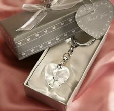 1 Chrome Key Chain With Crystal Heart Bridal Shower Favors Party Favor