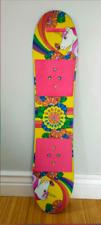 Burton Girls Youth Chiclet Flat Top Snowboard Funky Rainbow Unicorn Design 90 cm