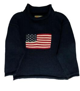 NWT Claver Sz 5 Boys Long Sleeve Roll Neck Navy Blue Antique Flag Cotton Sweater