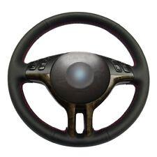 Customized Black Leather Steering Wheel Cover Wrap for BMW  E39 E46 325i E53 X5