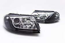 VW Passat 00-04 Daytime Running LED Black Headlights Headlamps Pair Set