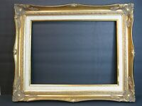 "VTG Ornate Wood/Gesso Baroque Gold Frame 17"" X 21"" W/ Linen, Fits 12"" X 16"" Art!"
