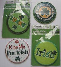 "Lot of St Patricks Day 3 3/4"" Jumbo Button Pins Four Irish Variety 2 Used 2 New"