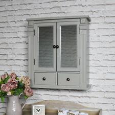 Grey painted mirrored bathroom cabinet internal shelving vintage home storage