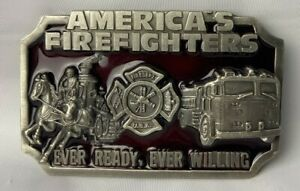 VTG America's Firefighters Pewter BELT BUCKLE Every Ready, Ever Willing '83 Gift