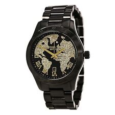 Michael Kors MK6091 Layton Gold Globe Dial Black Ion Pave Watch 44mm