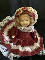 """Adorable Ornament Porcelain Cute Doll Small 4""""  Dress Curly Blonde Hair Hat"""