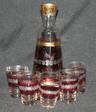 Vintage Gilded Ruby Clear Glass Set 5 Goblets And Pitcher Jug