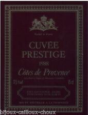 étiquette de vin COTES DE PROVENCE Cuvée Prestige 1988 wine label
