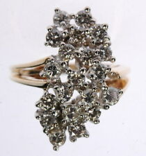 Ladies 14K Yellow Gold 1 CT Diamond Cocktail Cluster Estate Ring J250166
