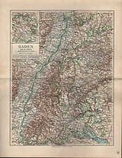 Landkarte map 1912 BADEN. Neckar Schwarzwald Donau Strassbourg Konstanz Mannheim