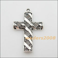 3 New Charms Tibetan Silver Hollow Cross Pendants DIY 31x48mm