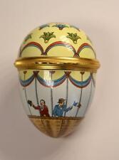 Halcyon Days English Enamels Easter 1985 Hot Air Balloon Egg Shaped Trinket Box