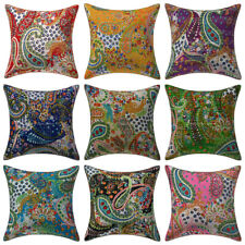 Indian Paisley Cotton Cushion Cover Home Decor Handmade Sofa Pillow Case Throw