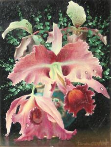 LEV TCHISTOVSKY-Russian/French Realist-Original Signed Oil-Pink Orchids
