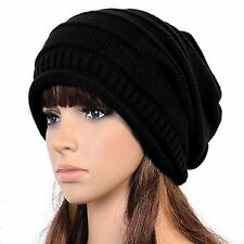 Winter Hat Knitted Slouchy Beanie, Bonnet, Chunky Baggy Warm Head Cap black
