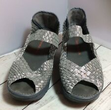 Bernie Mev Silver Wedge Shoes Size 39 Fits  8.5 EUC