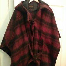 Preloved Coach Dark Cranberry Plaid Mohair Wool/ Alpaca Cape, Hooded M/L