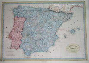 1840 rare ROUTES ANTIQUE MAP SPAIN PORTUGAL CATALONIA ARAGON VALENCIA BARCELONA