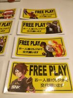 16 piece Set (8) FREE PLAY, sticker for Arcade Candy Cabinets + (8) FREE magnets