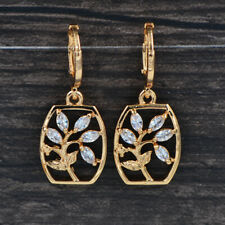 Fashion Women Gold Plated Clear Cubic Zirconia CZ Flower Vase Dangle Earrings
