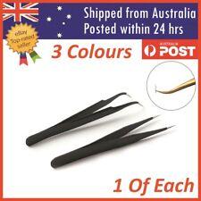 Eyelash Tweezers Eye Lash Clip Remover Tool False Extension Curved Pointed 2 Pcs