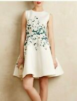 ANTHROPOLOGIE ERIN FETHERSTON White Floral Garland Dress Size 6 NWT FREE Shippin