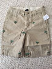 NWT Gap boys size 14 Slim Khaki flat front shorts with embroidered Palm Trees