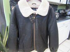 Overland Men's Shearling Sheepskin Napa Leather B-3 Bomber Jacket Size S
