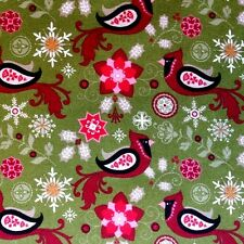 red bird snow flake flowers olive green cute fabric cotton wall art 1/2 YARD