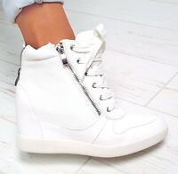 NEW LADIES WEDGE SNEAKERS WHITE ANKLE BOOTS PLATFORM ZIP LACE UP 392T 4 5 6 7