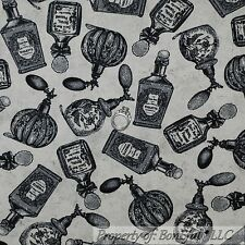BonEful Fabric FQ Cotton Quilt Tan Black Victorian Perfume Bottle RARE Old World