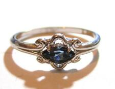 Vintage White Gold Plated 14K Ge Espo Blue Rhinestone Silver Toned Ring*S693