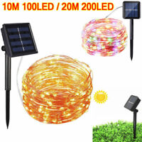 100/200LEDs Solar Powered String Copper Fairy LED Light Xmas Party Waterproof