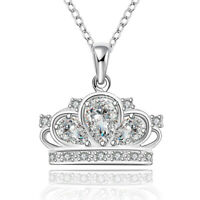 925 Sterling Silver Women Fashion Crown Crystal Pendant Charm Chain Necklace