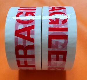 2 X 100mx48mm EXTRA LONG ROLLS FRAGILE STRONG PARCEL TAPE FOR DELIVERY PACKING