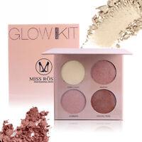 JN_ 30g 4 Color Shimmer Glow Kit Highlighter Powder Base Illuminating Makeup