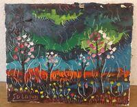"""""""Vista del paisaje con árboles y Estanque"""" ACEITE/Acrílico / lwd. FIRMADO solank"""
